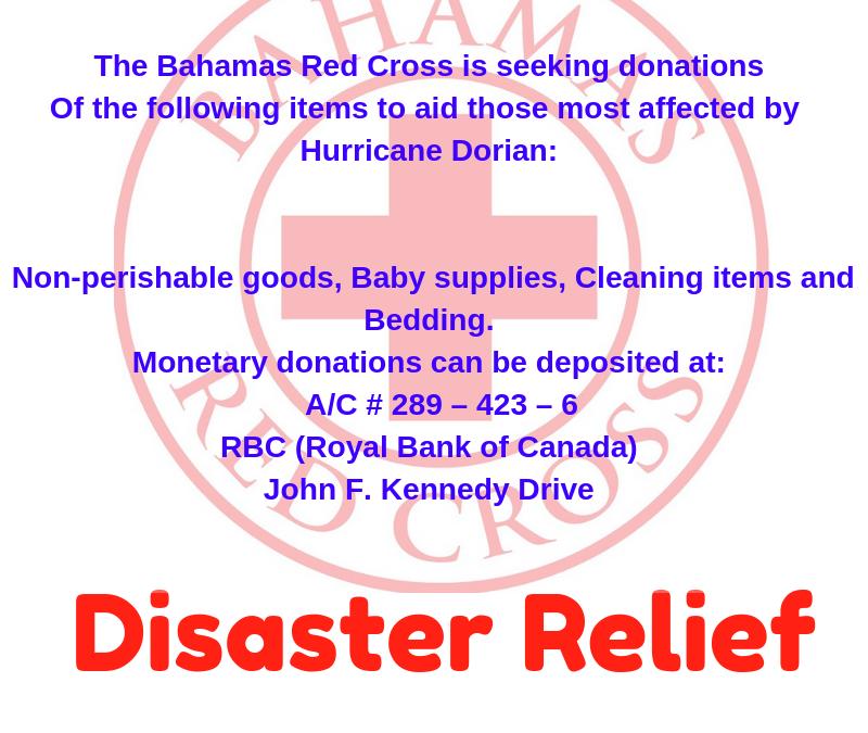 BAHAMAS RED CROSS SOCIETY: HURRICANE DORIAN ASSISTANCE #HelpusHelp